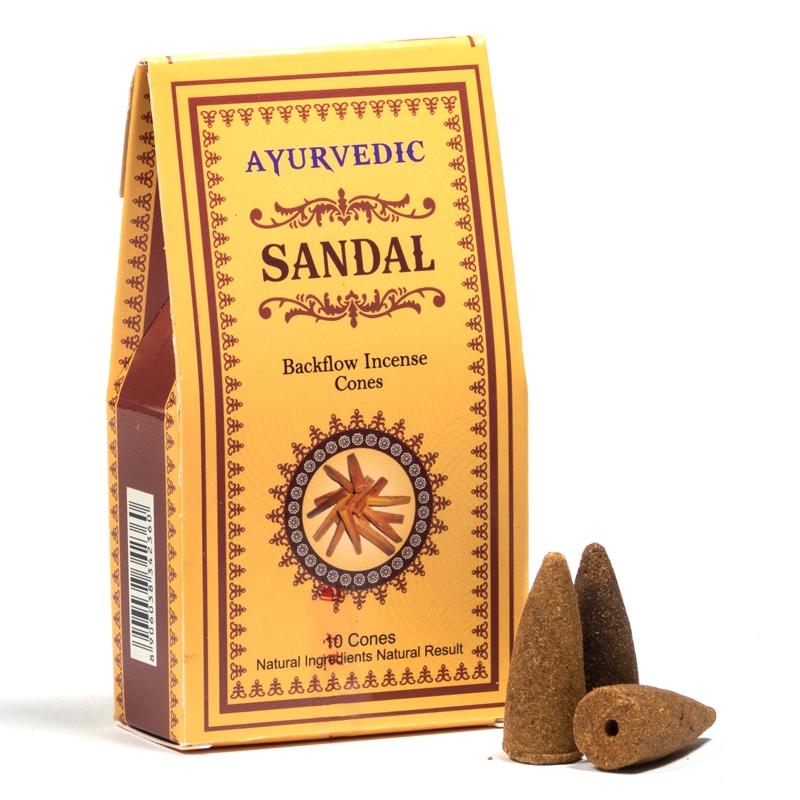 Ayurvedische Rückfluss Räucherkegel Sandelholz 10 Stück