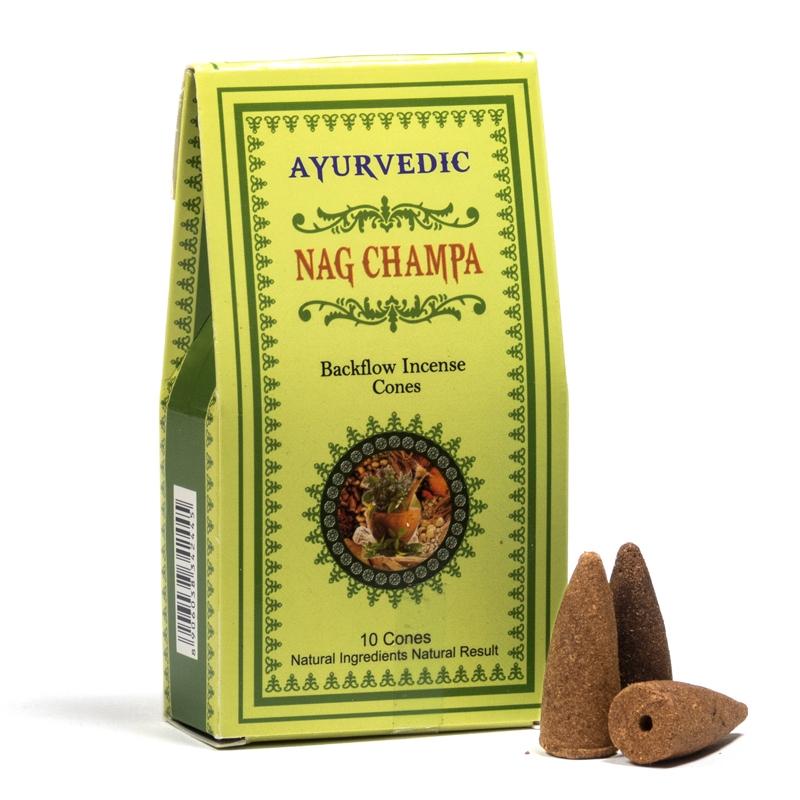 Ayurvedische Rückfluss Räucherkegel Nag Champa 10 Stück