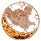 Bernsteinbild Engel mit Mond 10 cm Durchmesser