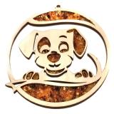 Bernsteinbild Hund 10 cm Durchmesser