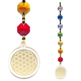 Lichtfänger Feng-Shui Blume des Lebens gold mit Chakrakette