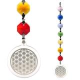 Lichtfänger Feng-Shui Blume des Lebens silber mit Chakrakette